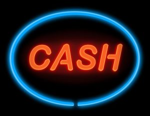 Illustration depicting an illuminated blue and red neon cash sign